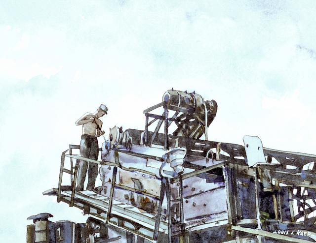 "Artwork: ""Oilin' the Rock Crusher, Okinawa"" Artist: Louis J. Kaep, #49. Courtesy U.S. Navy Combat Art Center"