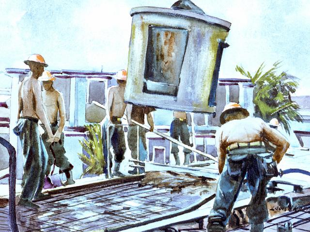 "Artwork: ""Pouring the Roof, Guam"" Artist: Louis J. Kaep, #19. Courtesy U.S. Navy Combat Art Center"