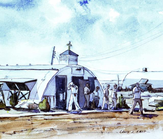 "Artwork: ""Seabee Chapel, Camp Kubasaki, Okinawa"" Artist: Louis J. Kaep, #48. Courtesy U.S. Navy Combat Art Center"