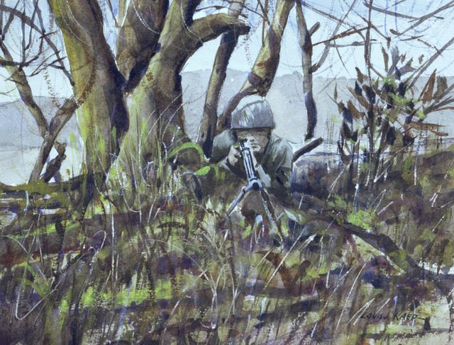 "Artwork: ""Seabee Sniper, Guam"" Artist: Louis J. Kaep, #28. Courtesy U.S. Navy Combat Art Center"
