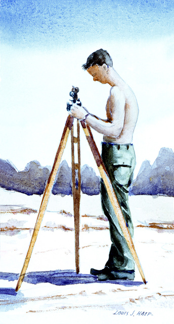 "Artwork: ""Seabee Surveyor, Guam"" Artist: Louis J. Kaep, #23. Courtesy U.S. Navy Combat Air Center"