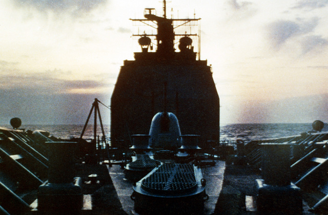 A view of the superstructure of the guided missile cruiser TICONDEROGA (CG-47) as seen from the bow of the ship