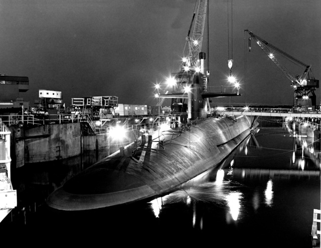 Port bow view of the Ohio class nuclear-powered strategic submarine MICHIGAN (SSBN 727) during inclining experiments