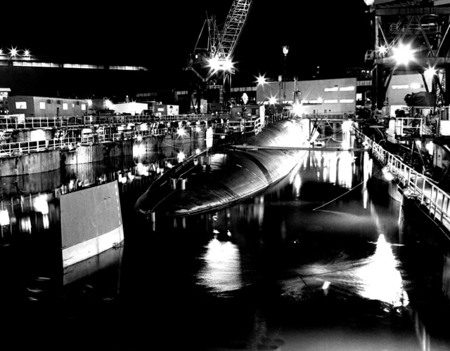 Starboard aft view of the Ohio class nuclear-powered strategic submarine MICHIGAN (SSBN 727) during inclining experiments