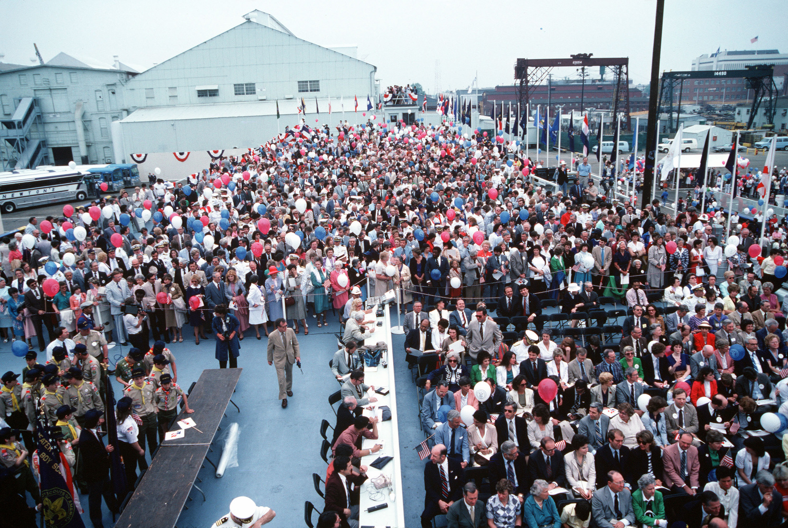 A view of the crowd attending the launching ceremony for the nuclear-powered attack submarine USS BUFFALO (SSN-715)