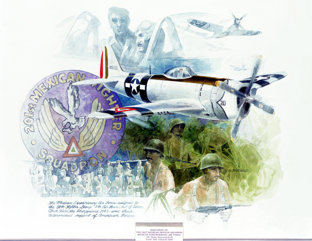 """Artwork: """"Esquadron 201,"""" The 201st Mexican Fighter Squadron, Mexican Expeditionary Air Force Artist: Ginny Sherwood"""