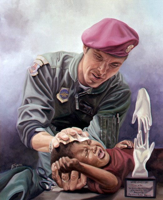 "Artwork: ""Hands of Humanity, MSGT Wayne Fisk"" Artist: Harrison Benton Copyrighted"