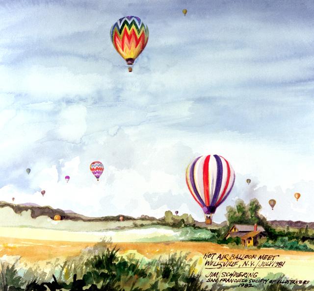 "Artwork: ""Hot Air Balloon Meet, Wellsville, N.Y., July 1981"" Artist: Jim Schwering"