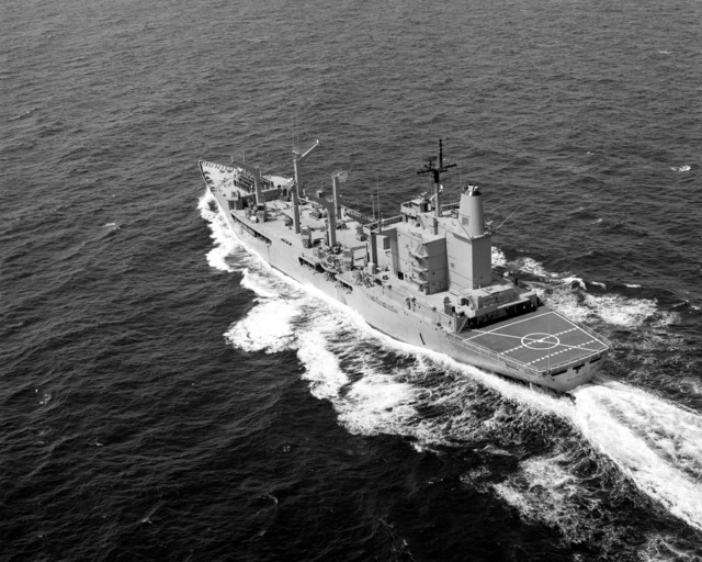 A port quarter view of the fleet oiler USS WILLAMETTE (AO-180) underway