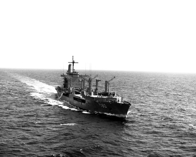 A starboard bow view of the fleet oiler USS WILLAMETTE (AO-180) underway