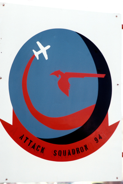 The painted logo for Light Attack Squadron 94 (VA-94)