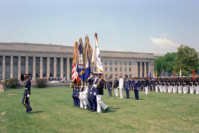 U.S. military honor guard units accord Republic of Korea Army GEN. Yoon Sung Min, Chairman, Joint Chiefs of STAFF, Korean Armed Forces, full military honors at a Full Honors Arrival Ceremony, hosted by U.S. Air Force GEN. David C. Jones, Chairman of the Joint Chiefs of STAFF, outside the Pentagon on May 18, 1982.  OSD Package No. A07D-00362 (DOD PHOTO by Helene C. Stikkel) (Released)