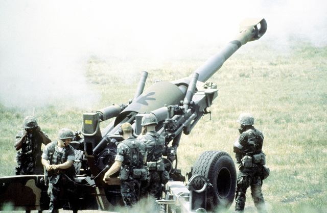 An M-198 155mm howitzer is demonstrated to the Joint Civilian Orientation Conference during their visit to the base