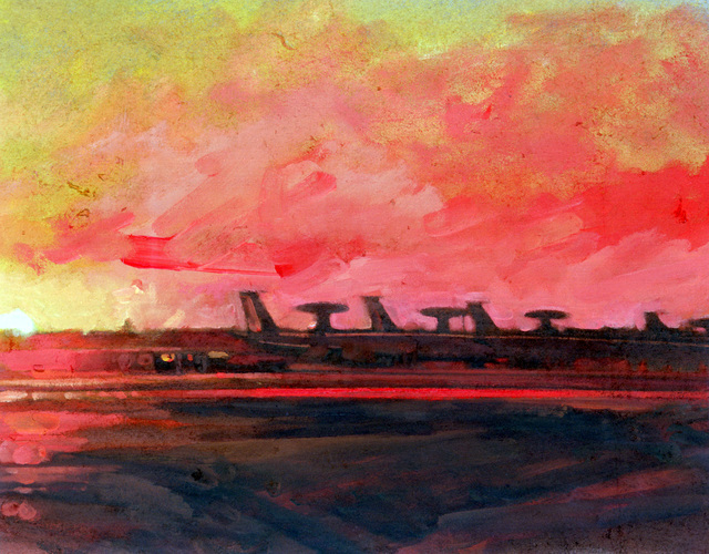 "Artwork: ""AWACS, Tinker Air Force Base"" Artist: Phillip Renaud"