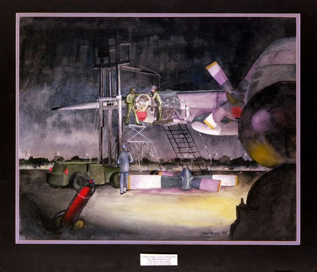 """Artwork: """"Caring for a C-130 Transport/RAF Mildenhall, UK"""" Artist: Stowe Myers Copyrighted"""