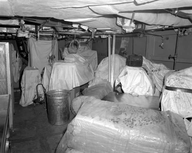 A view of the laundry room aboard the Spruance class destroyer HAYLER (DD-997) at 70 percent completion