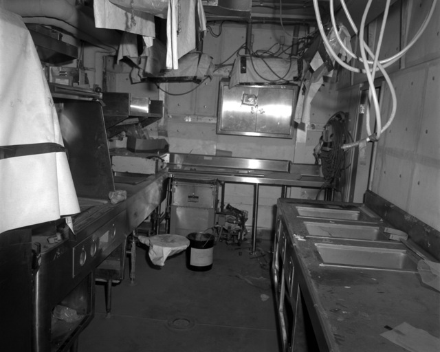 A view of the wardroom pantry aboard the Spruance class destroyer HAYLER (DD-997) at 70 percent completion