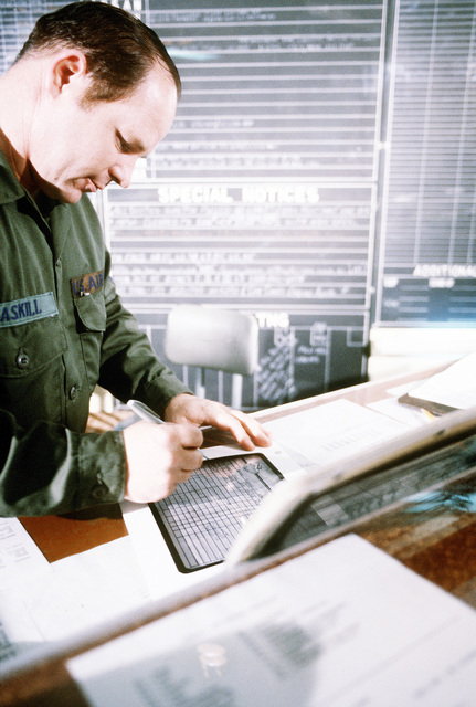 TSGT Richard Gaskill, an operations technician with the 25th Tactical Fighter Squadron, prepares data for the operations status board during Exercise Commando Vulcan