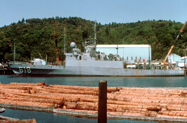 A port beam view of a patrol chaser, missile No. 618 at 70 percent completion