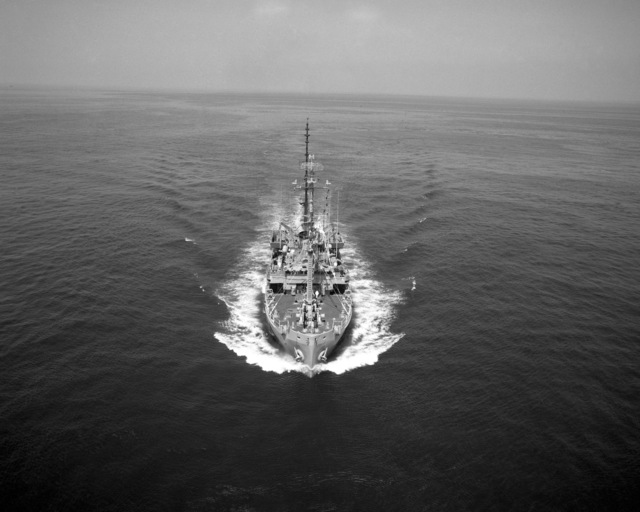 A bow view of the salvage ship USS RECOVERY (ARS 43) underway