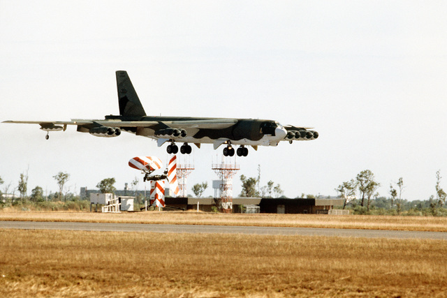 A right front view of a B-52H Stratofortress aircraft landing during Exercise Glad Customer '82. The aircraft is assigned to the 37th Bomb Squadron