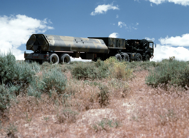 A view of a transporter-erector-launcher in the desert. The Air Force is conducting a test and evaluation program for the ground-launched cruise missile's weapon system