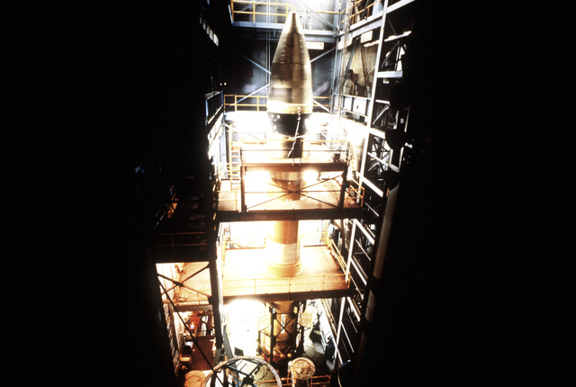 A view of the first flight-weight MX intercontinental ballistic missile being readied for developmental testing at Martin Marietta's Test Facility