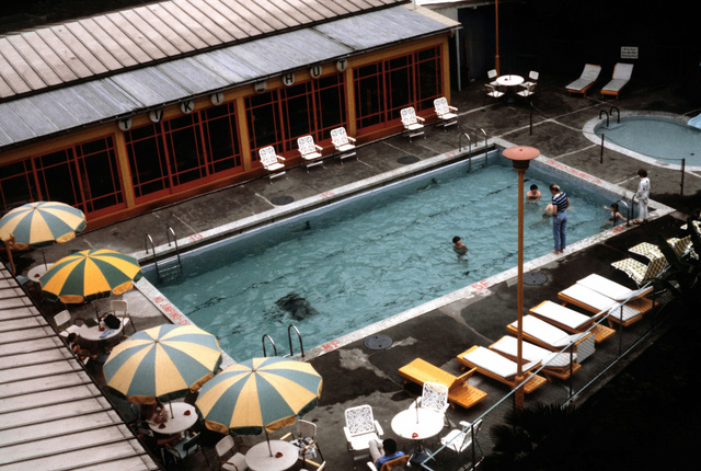 A view of the swimming pool and lounge at the Sanno Hotel. The Sanno is a joint services facility operated by the U.S. Navy with the support of the other services