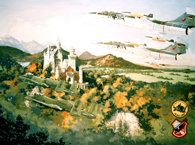 Artists conception of two A-10 Thunderbolt II aircraft and two German F-104 Starfighter aircraft in flight over the Alps