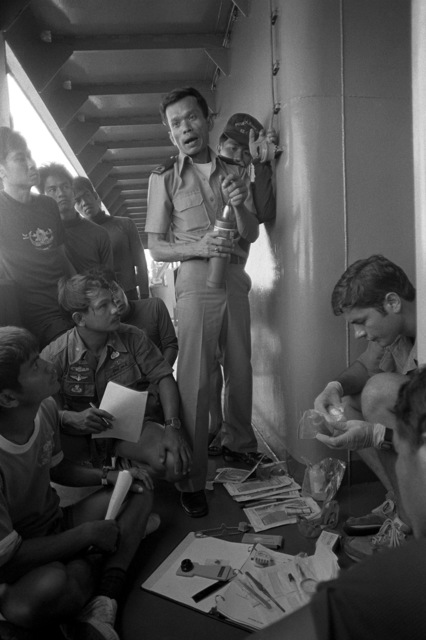 U.S. and Royal Thai navy personnel listen to a training lecture during Exercise Cobra Gold '82