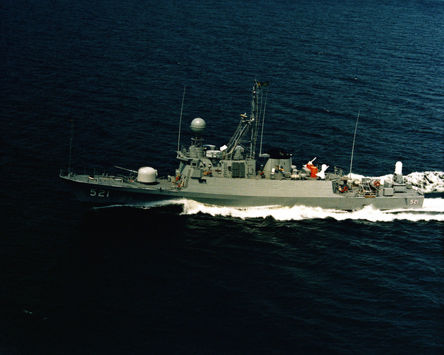 Aerial port beam view of the PGG-511 class patrol gunboat AMR (PGG-521) underway