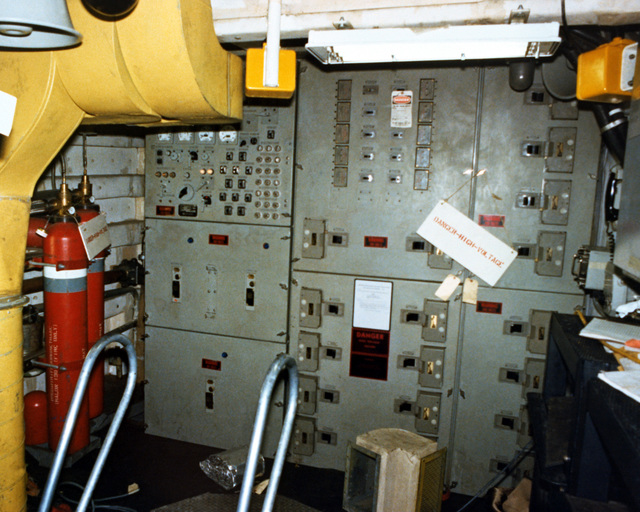 A view of the auxiliary machinery Room No. 2, looking forward, aboard the PCG-612 class patrol chaser, missile, hull no. 616 at 90 percent completion