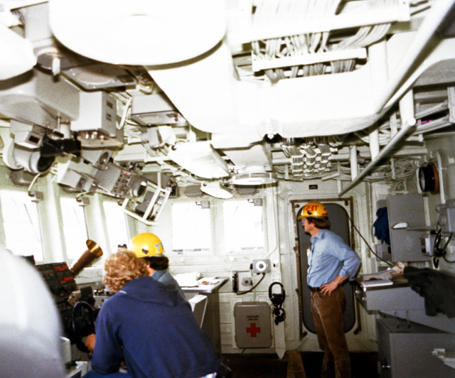 A view of the pilot house, starboard looking port, aboard the PCG-612 class patrol chaser, missile, hull no. 616 at 90 percent completion