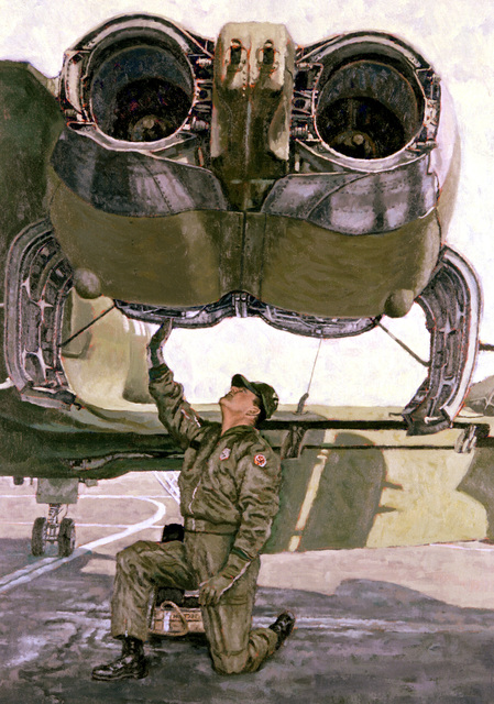 "Artwork: ""CMSGT Warner - Preflight Inspection"" Artist: John Witt"