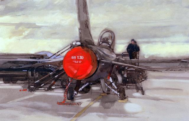 "Artwork: ""F-16 Falcon, Nellis Air Force Base, Nevada"" Artist: Phillip Renaud"