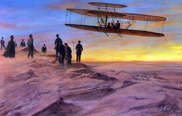 "Artwork: ""Wright B-1 Plane at Kitty Hawk, "" 1907, - Artist: Guy Deel"
