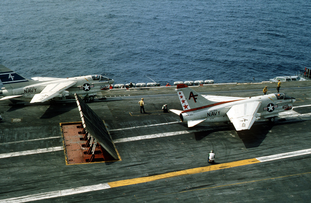 Two A-7B Corsair II aircraft are ready for launch during flight operations aboard the nuclear-powered aircraft carrier USS CARL VINSON (CVN 70)