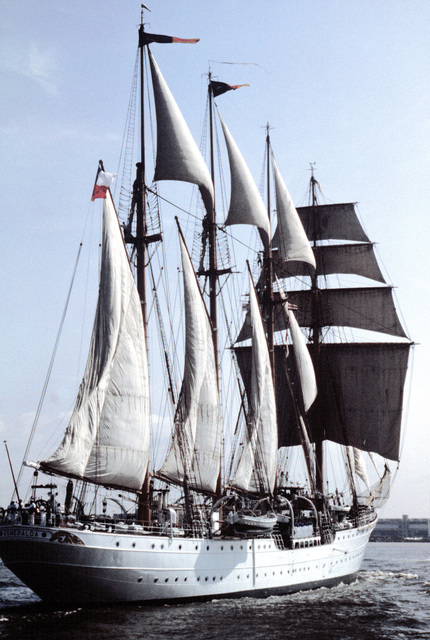 A starboard quarter view of the Chilean training ship ESMERALDA under full sail in the Delaware River. The ship is participating in the Century IV celebration