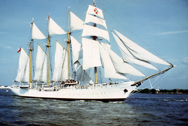 A starboard view of the Chilean training ship ESMERALDA under full sail during the Century IV celebration