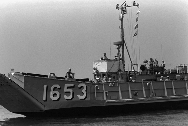 A port bow view of the utility landing craft (LCU-1653). The LCU is being used to assist on the transfer of approximately 600 Americans and third nation personnel, to the amphibious ships USS NASHVILLE (LPD-13) and USS HERMITAGE (LSD-34), during the evacuation from Beirut