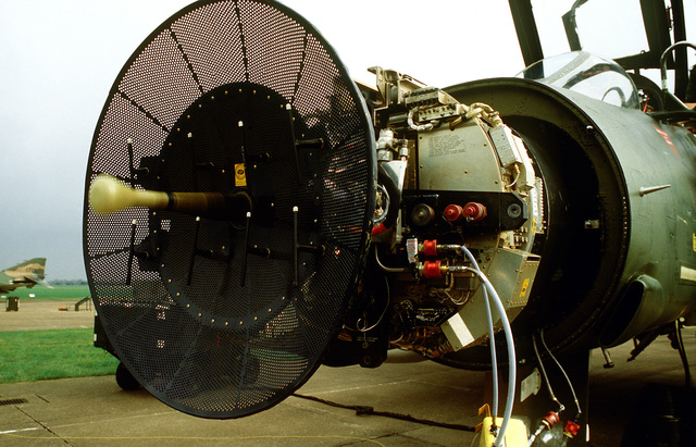 A view of the radar system of an F-4D Phantom II aircraft, as it undergoes repairs during Exercise Coronet Brave
