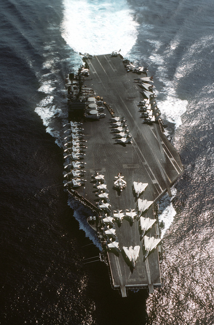 A aerial bow view of the aircraft carrier USS JOHN F. KENNEDY (CV-67) underway