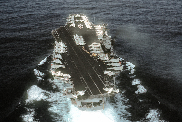 Stern view of the aircraft carrier USS JOHN F. KENNEDY (CV-67) underway