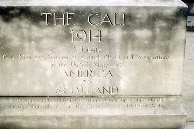 "A view of the base of ""The Call"", a monument donated by Scottish Americans to honor the Scottish people who jeopardized their lives in battle"