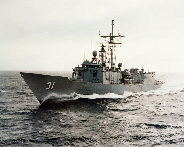A low angle port bow view of the guided missile frigate STARK (FFG-31) as Todd Pacific Shipyards Corporation conducts sea trials