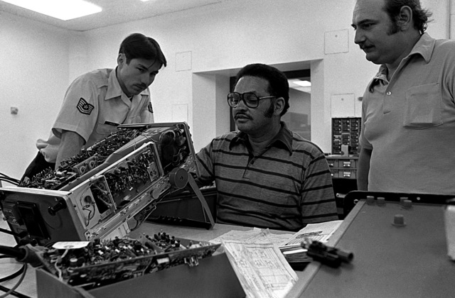 From left to right, TSGT Carl Jasuta, Michael Payne and Richard Cabo, as the Aerospace Guidance and Meteorology Center conducts a certification evaluation of the Precision Maintenance Electronic Lab