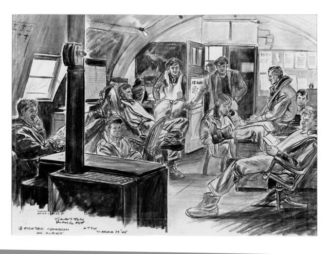 "Artwork: ""18 Fighter Squadron on Alert"", Artist: Clayton Knight"