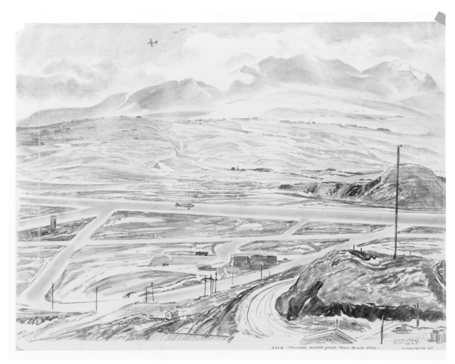 "Artwork: ""Toward North-West from 90mm Hill"", Artist: Clayton Knight"