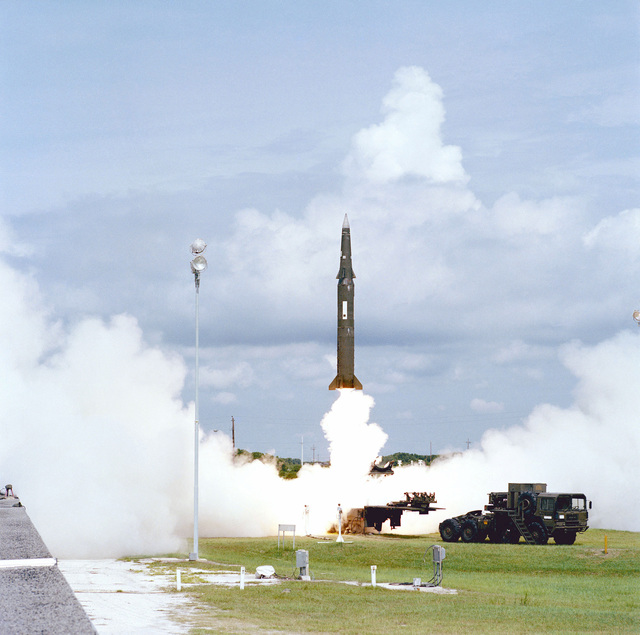 The United States Army test launches the first Pershing II battlefield support missile at 10:50 a.m. EDT. An in flight malfunction occurred during the first stage burn, causing the missile to self-destruct