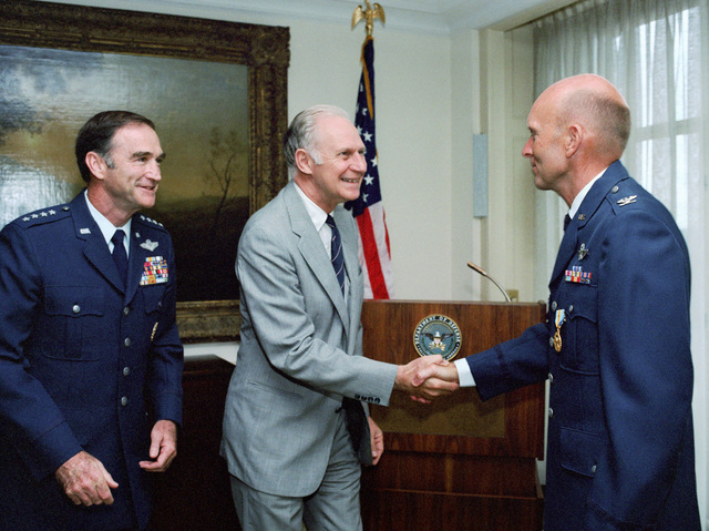 Secretary of Defense hosts award ceremony for four Astronauts. Three military, Colonel Gordon C. Fullerton, USAF, a Marine Corps Colonel and a Navy Captain receive the Defense Superior Service Medal and the civilian also receives a medal (?). Other attendees include: Deputy Secretary of Defense, Frank C. Carlucci; Secretary of the Air Force, Verne Orr; General Charles A. Gabriel, USAF, CHIEF of STAFF and General Robert II. Barrow, Commandant of the Marine Corps. Colonel Fullerton was on the Space Shuttle, STS-03, crew